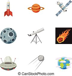 Space icons set, cartoon style