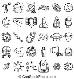 Space icons set, hand-drawn style, vector illustration