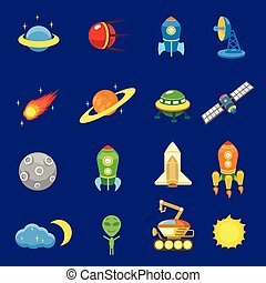 Space icons set of rocket galaxy planet ufo sun vector...