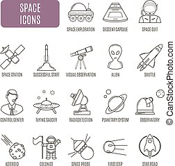 Space icons. Set of vector pictogram