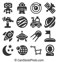 Space Icons Set on White Background. Vector