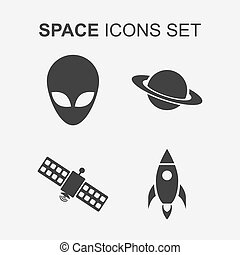 Space icons set. Vector illustratio
