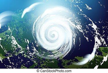 space., illustration., vector, huracán, vista, inmenso, ...