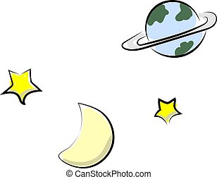 Space, illustration, vector on white background.