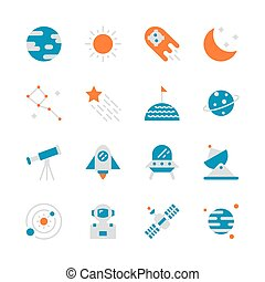 Space in flat icon set design. Vector illustration