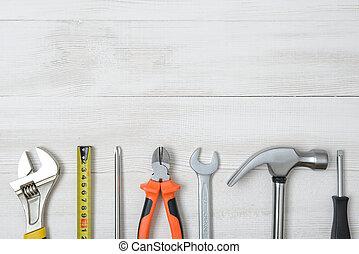 space., instrumentos, construcción, de madera, vista, herramientas, cima, abierto, diy, workbench.