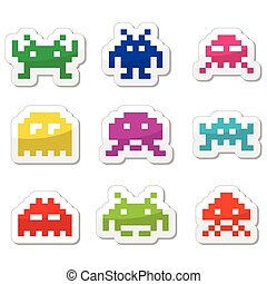 Space invaders, 8bit aliens icons s - Vector black icons set...