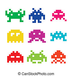 Vector black icons set of pixelated space invaders isolated on white