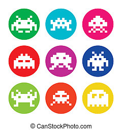 Vector colorful set of pixelated space invaders on circle isolated on white