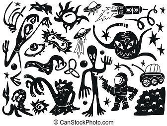 Space invaders ,aliens - doodles set part 1
