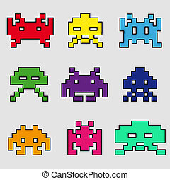 space invaders color - colored vector icons of space...