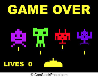 Space invaders with game over, isolated on black background.