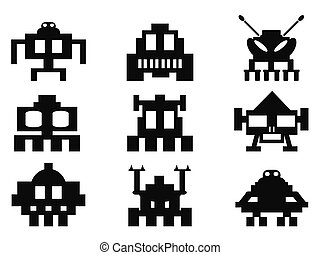 space invaders icons set - pixel monsters - isolated space...
