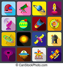 Space items icons set, flat style