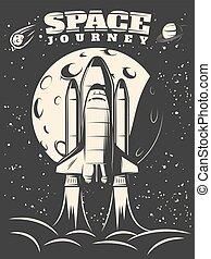 Space Journey Monochrome Print - Space journey monochrome...