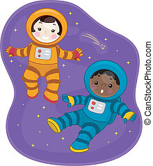 Space Kids - Illustration of Kids Dressed in Spacesuits and...