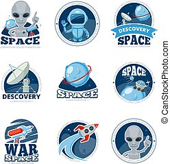 Space labels collection. Badges spaceship rocket astronaut