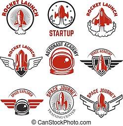 Space labels. Rocket launch, astronaut academy. Design elements