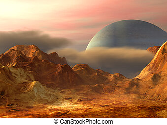 Space landscape - Imaginary landscape on a distant planet. ...