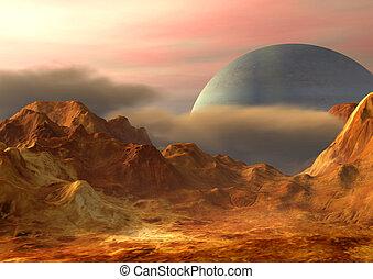 Imaginary landscape on a distant planet. Digital illustration