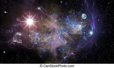 space landscape - landscape of deep space galaxy nebula...