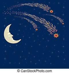 Space landscape, moon face, stars, falling comet.