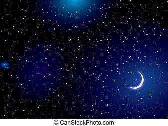 Space landscape moon - Stella space landscape with distant...