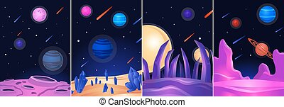 Space landscape poster set - colorful alien planet on dark galaxy night sky