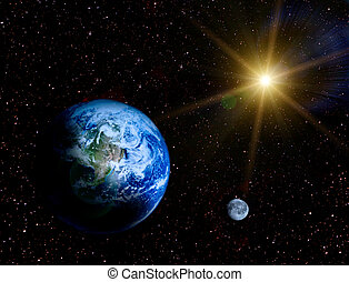 Space landscape - Earth and moon in universe illustraion