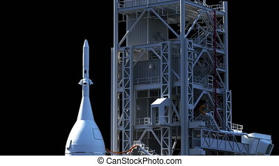 Space Launch System On Launch Pad. Luma Channel. 3D Animation. 4K. Ultra High Definition. 3840x2160.