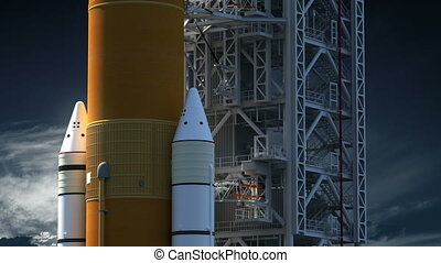 Space Launch System On Launch Pad. Realistic 3D Animation. 4K. Ultra High Definition. 3840x2160.