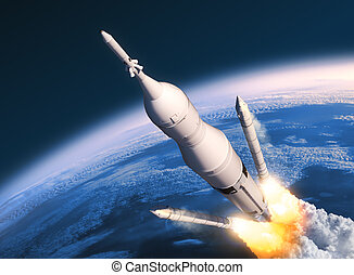 Space Launch System Solid Rocket Boosters Separation. 3D...
