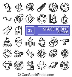 Space line icon set, astronomy symbols collection, vector sketches, logo illustrations, science signs linear pictograms package isolated on white background, eps 10.