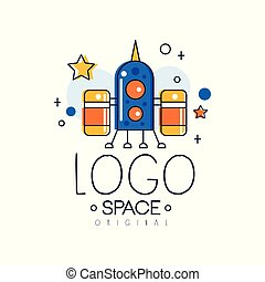 Space logo original, space mission and exploration label vector Illustration on a white background
