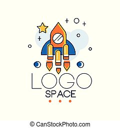 Space logo, space mission and exploration label vector Illustration on a white background