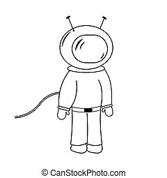 Space man isolated childish line drawing astronaut vector illustration