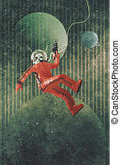 astronaut in red suit holding a gun