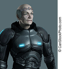 Portrait of an elderly futuristic space marine commander with armour and circlet, 3d digitally rendered illustration