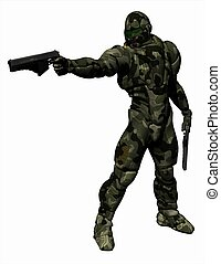 Space Marine in Heavy Camo Armour - Space Marine wearing a...