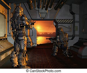 Space Marines arriving on Mars - Two armoured space marines...