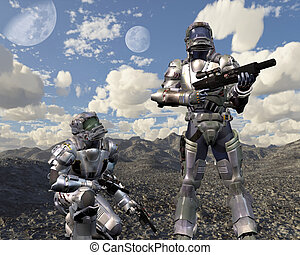 Space Marines on Deserted Planet - Two armoured space...