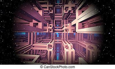 Space matrix, virtual reality. 3d Illustration