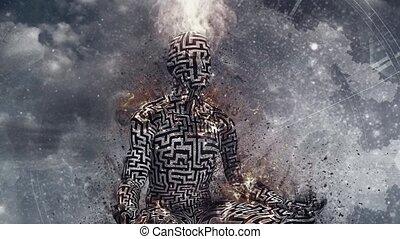 Space meditation. Burning man in lotus pose meditate in deep space