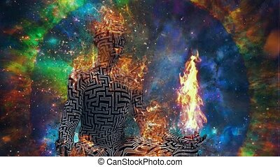 Burning man in lotus pose meditate in deep space - Space ...