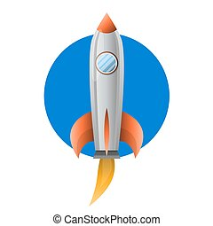 Space metal rocket with blue pothold flies up - Space metal...