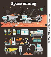 Space mining concept set, vector illustration collection