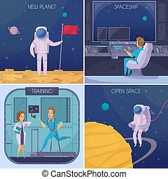 Space Mission Cartoon Concept Square