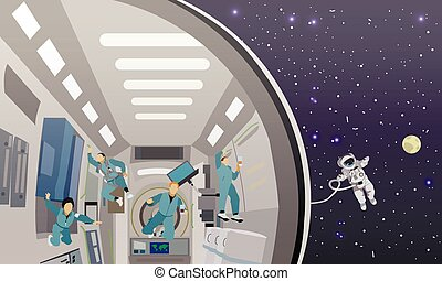 Space mission concept vector illustration. Cosmonauts flying in no gravity