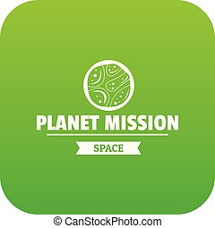 Space mission icon green vector