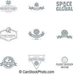 Space mission logo set, simple style